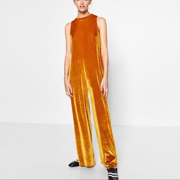 2588b538adc NWT Zara gold ochre velour jumpsuit sz M